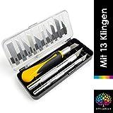 OfficeTree 3x Bastelmesser Skalpell Set 16 tlg. Bastel Zubehör mit 3 verschiedenen Messern und 13...