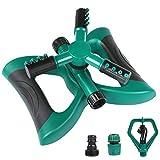 Aiglam Garten Sprinkler, Automatische 360 Grad Rotierende Rasen Wasser Sprinkler 3-Arm Sprenger...
