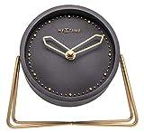 NeXtime Tischuhr 'CROSS TABLE', lautlos, rund, Stein / Metall, 17,5 x 15,5 cm