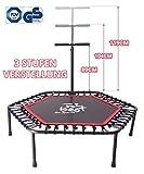 Best for Sports Fitness Trampolin mit Stange, Bungee-Seil-System 42 Stück, Ø 110 cm, bis 120 kg...