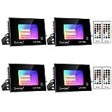 Onforu 4er RGB LED Strahler 12W, Farbig Fluter mit Fernbedienung, Farbwechsel Scheinwerfer Außen,...