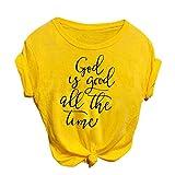 BURFLY Damen Frühling Sommer Mode Sexy Retro T-Shirt Arbeiten Beiläufige Oansatz Buchstabedruck...