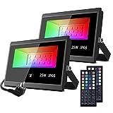 MustWin RGB Strahler 25W LED Strahler 2er mit Fernbedienung IP66 Wasserdicht Fluter Farbwechsel...