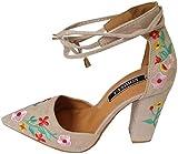 Yaoni Frauen-Mädchen-Dame-Absatz-Sandalen, Wildblume Stickerei Chunky Spitzschuh-Verband-Schuhe...