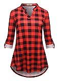 Luranee Damen 3/4 rollten ärmel Shirts mit v-Ausschnitt Notch Flowy Karierte Tunika blusen Medium...