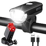 OMERIL LED Fahrradlicht Set Fahrradbeleuchtung STVZO Zugelassen Fahrradlampe Aluminium USB Aufladbar...