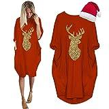LOPILY Damen Kleider mit Glitzer Pailletten Weihnachtskleid Reindeer Frezeit Shirtkleid Frühlings...
