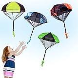 Eyscoco Fallschirm Spielzeug Kinder,4 Stücke Fallschirmspielzeuge Kinder Hand Werfen Fallschirm...
