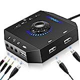 USB Soundkarte Extern, PHOINIKAS Externe Soundkarte mit verstellbarem Volume, Audio Adapter mit 3.5...
