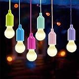 LED Pull Cord Glühbirne Tragbare 6-teilige LED-Lampe zum Wandern Angeln Büro Camping Zelt...