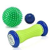 SUNJIOR Fußmassageroller Set und 2er Igelball Set mit Noppen, Innovativer Massageball für eine...