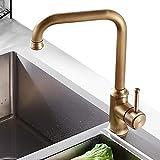 NEWRAIN Antikes Messing Küchenarmatur 360° Drehbar Wasserhahn Küche, Einhebelmischer Spültisch...