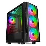 CiT Flash ARGB PC-Gaming-Gehäuse, M-ATX, 4 x 120 mm ARGB-Regenbogen-Lüfter inklusive, gehärtetes...