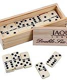 Jaques of London - Double Six Dominoes mit Spinnerinnen - prsentiert in Einer Kieferbox mit...