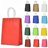 LivDeal 12 Stück Papiertüten aus Kraftpapier Geschenktüten mit Henkel Kindergeburtstag Mitgebsel...