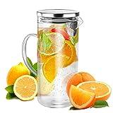 Kühlschrankkrug Glaskaraffe ca. 1,3 L mit Deckel Ausgießer und Sieb - Wasserkrug Saftkaraffe...