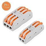 20 Stck Verbindungsklemme Lever Nuts Set, Kompakten Steckklemmen Push Kabelverbinder Sortiment...