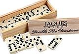 Jaques of London - Double Six Dominoes mit Spinnerinnen - präsentiert in Einer Kieferbox mit...