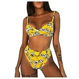 Bikini Set für Damen High Waist Riemchen Geteilter Badeanzug Sexy Push Up Zweiteilige Bademode...