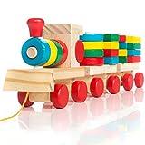 all Kids United Holz-Eisenbahn Spielzeug-Eisenbahn aus Holz; Kinderspielzeug Sortierwrfel Holzzug...