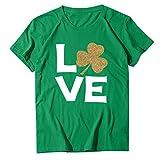 Kobay Frauen St. Patrick's Day O-Neck Brief drucken Kurzarm lose T-Shirt Tops St. Patrick's Day Klee...