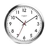 Cander Berlin MNU 4130 Weiße Wanduhr aus Aluminium mit lautlosem Sweep Uhrwerk für den...