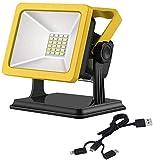 MFLASMF Tragbares LED 2200LM-Flutlicht, wiederaufladbare USB-Akku-Arbeitsleuchten, 3 Lichtmodi,...