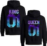 Couples Shop King Queen Hoodie Pullover Set für Paare (Damen Queen, Stars-Schwarz L)