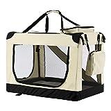 Sam´s Pet Hundetransportbox Lassie L (beige) faltbar - 50 x 70 x 52 cm - Reisebox mit Decke, Tasche...