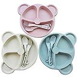 3 Stck Baby Teller Set Kinderteller Stabiles Kindergeschirr BPA free Passt in Splmaschine und...