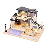 PLDDY Weinregal DIY Puppenhaus Mermaid Tribe House-Modell Mini Simulation Möbel, mit LED-Leuchten...