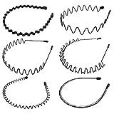 6 Stück Unisex Schwarz Welle Metall Stirnband Haarbänder Haarreifen Haarschmuck Stirnband...