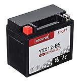 Accurat Motorradbatterie YTX12-BS 12Ah 180A 12V Gel Technologie Starterbatterie in...