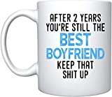 Weiße Keramik-Kaffeetasse mit Aufschrift 'NA After 2 Year You're Still The Best Boyfriend' für...