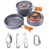 Gaoominy Camping Kochgeschirr Outdoor Cooking Mess Kit Tragbare Leichte T?Pfe Pfannen Wasserkocher...