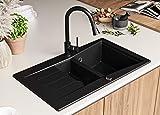Granitspüle mit Siphon Madrid Einbauspüle Spülbecken Schwarz Küchenspüle Unterschrank Küche ab...