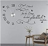 tjapalo® s-tku5 Wanduhr Wandtattoo Uhr Wohnzimmer Wandsticker Spruch - Nimm dir Zeit für die Dinge...