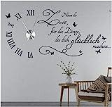 tjapalo s-tku5 Wanduhr Wandtattoo Uhr Wohnzimmer Wandsticker Spruch - Nimm dir Zeit für die Dinge...