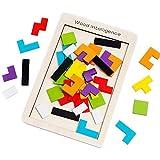 SeeKool Tetris Tangram Holzpuzzles, Bunten Lernspielzeug Intelligenz Pädagigisches Gehirntraining...