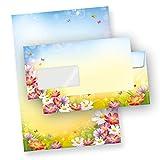 FLORENTINA Briefpapier Set (500 Sets m.F.) DIN A4 297 x 210mm 90 g/qm,mit Briefumschlge - mit Blumen...