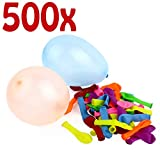 Belmalia 500x Wasser-Bomben Mega-Pack Bunte Neon Wasserballons Rot Gelb Lila Blau Orange Pink Grün