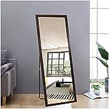 AUFHELLEN Standspiegel mit Braun Rahmen aus Holz 140x50cm HD Groß Ganzkörperspiegel mit Haken für...
