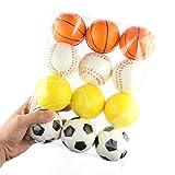 Catkoo 12 Stücke Anti Stress Bälle Mini Weiche Basketball Fußball Tennis Quetscht Baby Spielzeug,...
