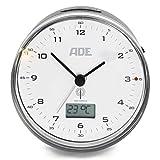 ADE Funkwecker analog CK 2022 (Geräuschloser Wecker ohne Ticken, Thermometer, Datum und...
