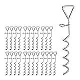 Relaxdays 24 x Spiralhering, Erdanker für Zelte & Trampoline, Stahl, Anlegepflock für Hunde,...