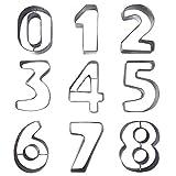 9 Keksausstecher in Zahlenform aus Metall - Edelstahl-Ausstecher Set der Zahlen 0 - 9 - Perfekte...