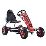 HOMCOM Go Kart Kinderfahrzeug Mit Pedal Sitz verstellbar Gummireifen Metall Rot 121 x 65 x 76 cm