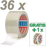 ██ Tesa Paketklebeband 64014 Transparent - 36 Rollen Paketband (66m x50mm) - Packband Tesaband...