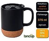 Beschreibbare 375ml Keramik-Tasse Schwarz | Kaffeetasse/Kaffeebecher mit Deckel für Spritzschutz...