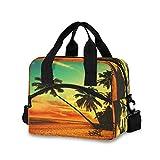 Doshine Isolierte Lunchbox Tropical Beach Palme Sonnenuntergang wiederverwendbare Lunchbox Khltasche...